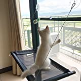 Cat Window Perch Bed Cot - Blinbling Kitty Window Seat Suction Cups Space Saving - Providing all Around Sunbath and Natural Scenery for Cats Weighted up to 33lbs