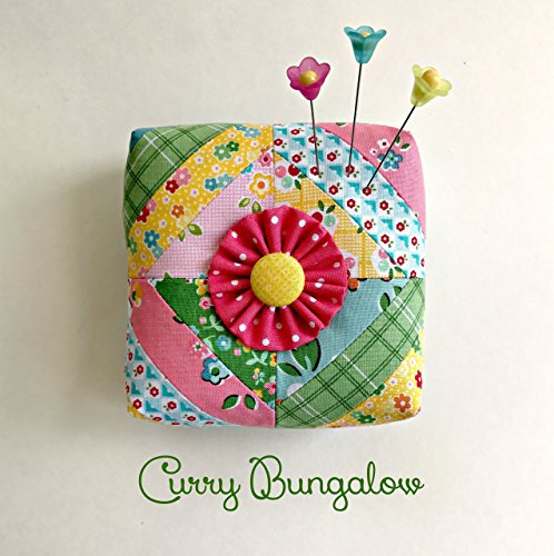 Pincushion Handcrafted Scrappy Strips Patchwork Pin Cushion Including Three Decorative Flower Pins Filled with Crushed Walnut Shells