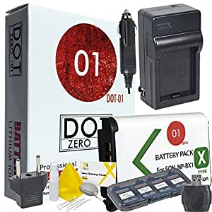 DOT-01 Brand 1800 mAh Replacement Sony NP-BX1 Battery and Charger for Sony DSC-RX100 III Digital Camera and Sony BX1 Accessory Bundle with BONUS Lens Blower Brush Cleaning Kit and Hard Memory Card Case