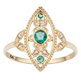10k Yellow Gold Antique Style Genuine Round Emerald and Diamond Ring