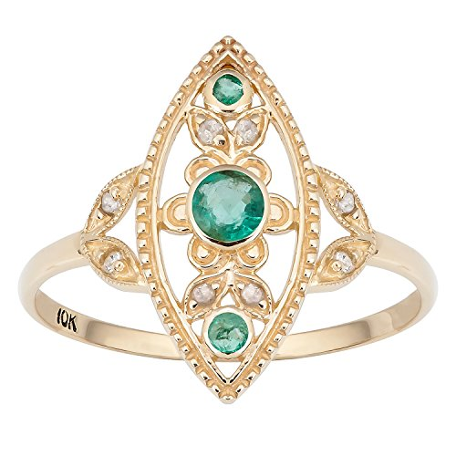 Gold Antique Style Genuine Round Emerald and Diamond Ring (Emerald Diamond Ring Settings)