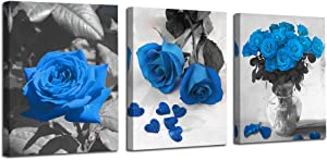 Ardemy Canvas Wall Art Blue Rose 3 Panels Flowers Pictures Prints Black and White Painting Modern Romantic Florals Framed Ready to Hang for Bathroom Bedroom Living Room Spa Kitchen Wall Decor