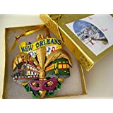 New Orleans Fleur De Lis Holiday Christmas Ornament with Gift Box/Bow/Tag LG