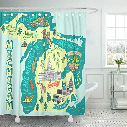 Semtomn Shower Curtain Waterproof Polyester Fabric 66 x 72 inches Capitol Map of The State Michigan USA Travel and Attractions Set with Hooks Decorative Bathroom Curtains