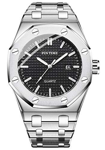 Mens Luxury Fashion Dress Watch Analog Quartz Watch Black/Silver/Rose Gold Octagonal with Spiral Decorative Bezel Stud Calendar Daily Business Wrist Watches