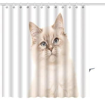 White Cat Printing Polyester Waterproof Bathroom Fabric Shower Curtain 12 Hook