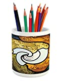 Lunarable Trippy Pencil Pen Holder, Pop Art Style Funky Unusual Stained Glass Window Thai Art Pattern Traditional Image, Printed Ceramic Pencil Pen Holder for Desk Office Accessory, Multicolor