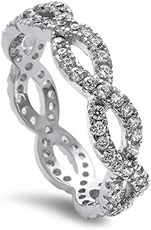Beautiful Round Cubic Zirconia Eternity Infinity Wedding Band Solid Sterling Silver THREE COLORS AVAILABLE