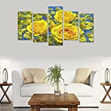 Custom Custom Oil Painting Print Roses Closeup Yellow Flowers Canvas Print Bedroom Wall Canvas Decoration Hotel Fashion Design Wall Art 5 Piece Oil Paintings Canvas (No Frame)
