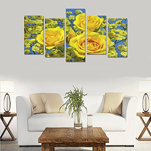 Custom Custom Oil Painting Print Roses Closeup Yellow Flowers Canvas Print Bedroom Wall Canvas Decoration Hotel Fashion Design Wall Art 5 Piece Oil Paintings Canvas (No Frame) by sentufuzhuang Canvas Printing