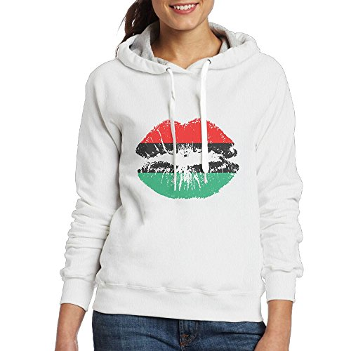 Pan American African Heritage Flag Colors Lips Women's Classic Pullover Print Hoodie Hooded Sweatshirt With Drawstring XL (Heritage Bumble Bee)