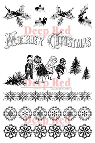 Deep Red Stamps Christmas Holly Borders Rubber Stamp Set