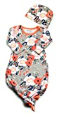 Infant Baby Tie Nightgown and Matching Hat | Sleep Gown with A Tie Bottom | Boy Girl Unisex | Soft Stretchy Cotton Sleeper (Grey Coral Floral, 0-3 Month)