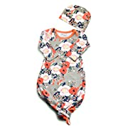 Baby Tie Bottom Nightgown and Matching Hat, Sleep Gown (Grey Coral Floral, 3-6 Months)