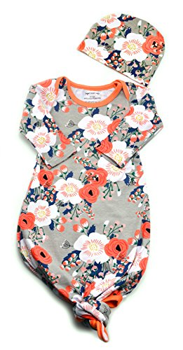 Infant Baby Tie Nightgown And Matching Hat | Sleep Gown With A Tie Bottom | Boy Girl Unisex | Soft Stretchable Cotton (Grey Coral Floral, 3-6 (Online Baby Boutiques)