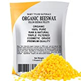 100% Organic Yellow Beeswax Pellets 1 lb, Premium Quality, Cosmetic Grade, Triple Filtered Organic BeesWax Pellets, Great for DIY Lip Balm Recipes Body Creams Lotions Deodorants By Mary Tylor Naturals