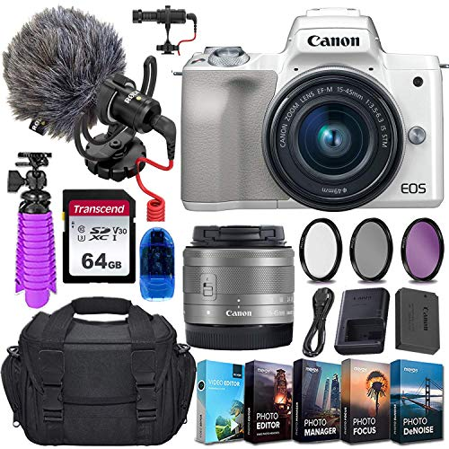 Canon EOS M50 Mirrorless Digital Camera (Silver) and 15-45mm STM Lens w/Rode VideoMicro Compact On-Camera Microphone + 64GB Transcend Memory Card, Camera Bag & More Essential Accessory Bundle