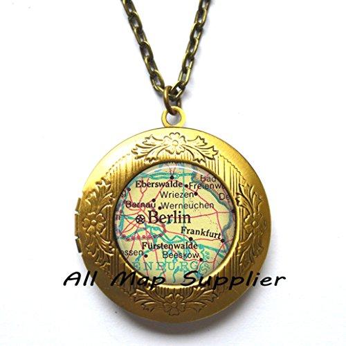 Charming Locket Necklace,Berlin map Locket Necklace, Berlin map Locket Pendant, Berlin Locket Necklace Berlin Locket Pendant, Berlin, Germany, Frankfurt Germany map Locket (Frankfurt Halloween)