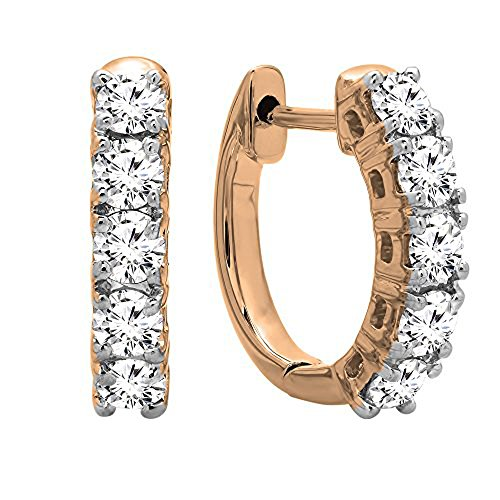 0.50 Carat (ctw) 10K Rose Gold Real Round Cut White Diamond Ladies Huggies Hoop Earrings by DazzlingRock Collection