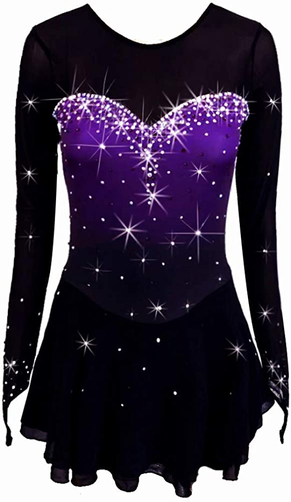 Ice Skating Dress Black Spandex Sleeveless Girls Ballroom Competition Dance Leotards