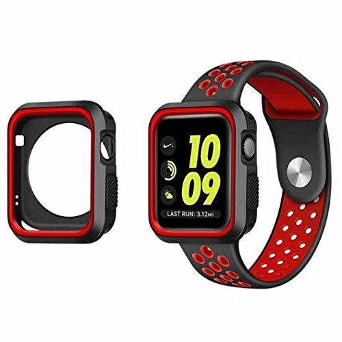 Price comparison product image For Apple Watch Series 3 42mm ,  Tiean Cover Sports Gel Silicone Bumper Protected Case (Red)