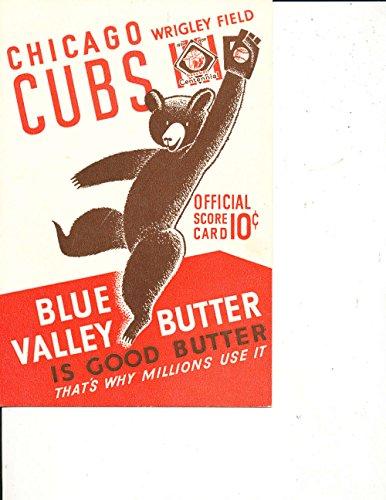 1939 Cincinnati Reds Chicago Cubs Baseball Scorecard BBMag3 1939 Cincinnati Reds