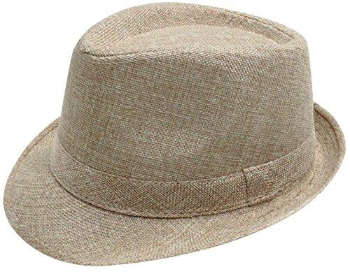 [Simplicity Women Men Summer Gangster Trilby Straw Fedora Hat Cap W/ Brim, Khaki] (Fedora Gangster Hat)