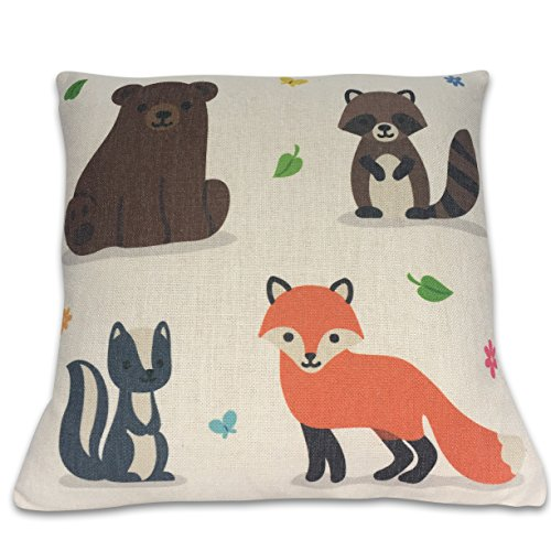 fox-pillow-decorative-throw-pillow-cover-fox-woodland-friends-100-cotton-linen-pillow-cover-only-fit