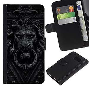 iKiki Tech / Cartera Funda Carcasa - Doorbell Lion Grey Black White Doorknob - Samsung Galaxy S6 SM-G920