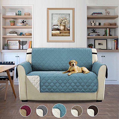 Luxurious Plush Reversible Quilted Furniture Protector, Stay in Place Microfiber Stain Resistance Sofa Slipcover for Pets/Dogs/Cats (Love Seat: Stone Blue/Beige) - 75 inches by 90 inches Stone Microfiber Sofa