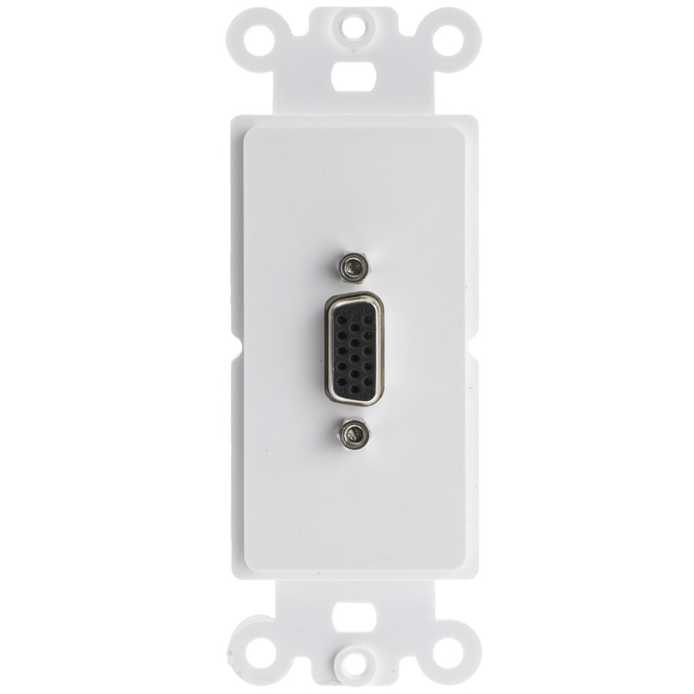 ACL Decora VGA Coupler, HD15 Female Wall Plate Insert, White, 100 Pack by ACL