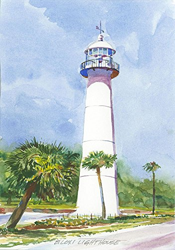 Biloxi Lighthouse Mississippi Matted Watercolor Art Prints (5x7) - Lighthouse Watercolor