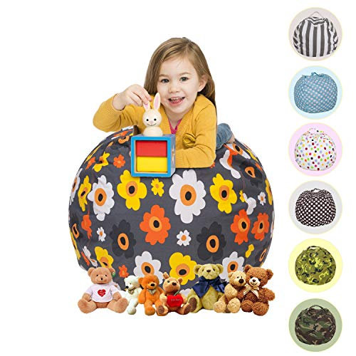 CALA Extra Large 38'' Stuffed Animals Bean Bag Chair Cover - Pouf Ottoman for Toy Storage - 100% Cotton Canvas Toy Organizer for Kids 5 Patterns (Grey Floral) by CALA LIFE