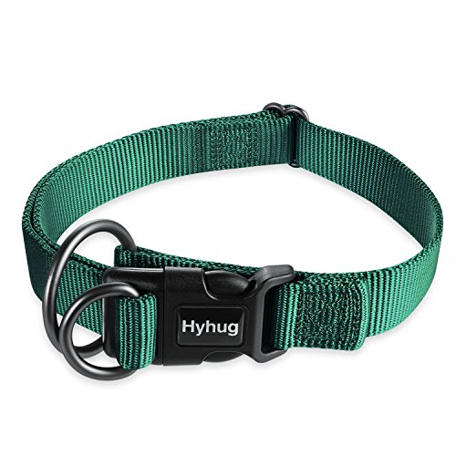 Hyhug Regular Classic Basic Sturdy Nylon Dog Collar with Easy to Get On and Off Deluxe Buckle - for Medium Male and Female Dogs Professional Training, Walking Daily Use. (Medium,Dark Green) - Collar D-ring Training