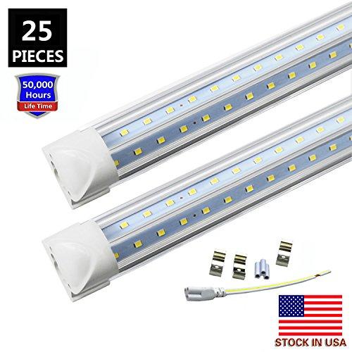 6FT LED Tube Light, Double Side V Shape 42W 5670LM(120W Equivalent)T8 LED Shop Lighting Fixtures, Integrated LED Cooler Door Lights,AC85-265V Clear Cover 6000K Cool White (25-Pack)