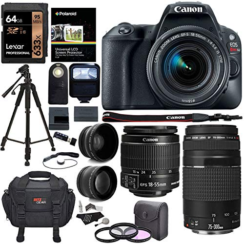 (Canon EOS Rebel SL2 DSLR Camera, EF-S 18-55mm STM, [Canon SL2 has Almost Exact Specs as The EOS Rebel T7i,in Compact Version] + Canon 75-300mm Telephoto Lens, Full Manufacture Warranty + Accessories)