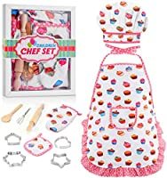 LET'S GO! Kids Chef Hat and Apron Girls Career Role Play - Best Gifts