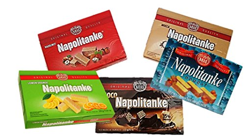 5 Boxes -Best European Napolitanke Wafers Easter and Mothers Day Gifts Snacks Assortment Holiday Treats (330 G/11.64 Oz) (Baileys Irish Cream Gift Baskets)