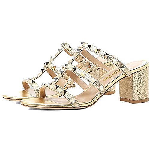 5cm Gold Women Chunky Studs Caitlin Heel Pumps Slingback Block 13 Toe Strappy Open Sandals Slide Studded Heels Dress 5 Pan HxxYqUR