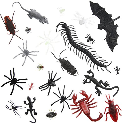 Sumind 150 Pieces Plastic Realistic Bugs Fake Bugs for Halloween Party Favors and Decoration, 23 Different Styles -