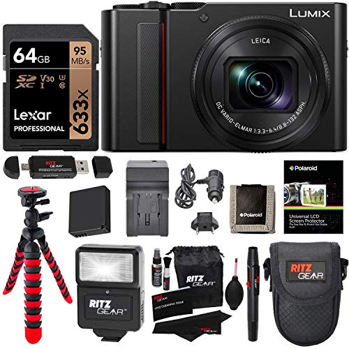 Panasonic Lumix DC-ZS200K Digital Camera (Black) with 64GB Memory Card, Tabletop Tripod, Camera Case, Flash, Cleaning Kit, Battery, Charger Kit and More