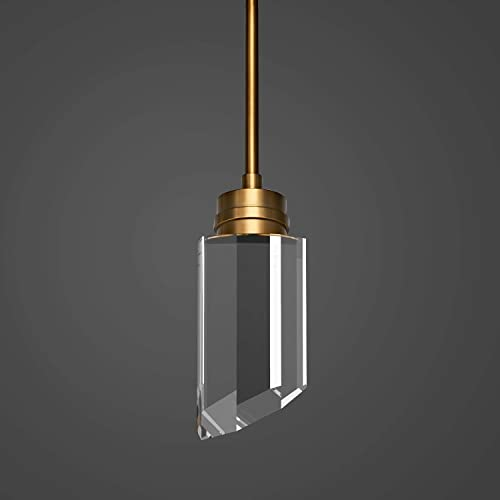 MOTINI 1-Light Modern Crystal LED Pendant Light, Gold Brushed Brass with K9 Crystal, Hanging Pendant Lighting Fixture for Kitchen Island Dining Room