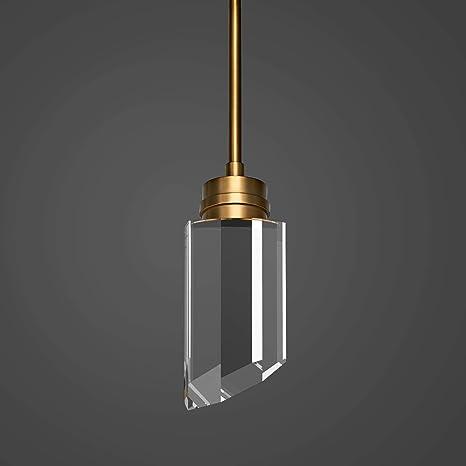Motini 1 Light Cylinder Crystal Pendant Light Gold Brushed Brass With K9 Crystal Led Modern Ceiling Hanging Pendant Lighting Fixtures For Kitchen Island Bedroom Dining Room Bathroom Home Improvement