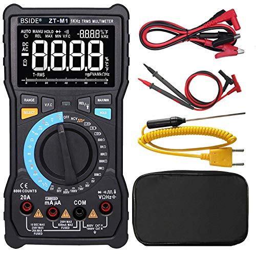 Display Digital Multimeter - Bside Electricians Digital Multimeter 3-Line Display Large Screen True RMS 8000 Counts Auto-Ranging Voltmeter VFC Temperature Capacitance AC/DC Voltage Current Battery Tester with Alligator Clip
