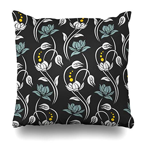 Decor.Gifts Throw Pillow Covers Glamour Bloom Curved Stems Flower Blossoms Abstract Blossom Nature Bouquet Branch Bud Chic Color Fresh Cushion Case Square Size 20 x 20 Inches Home Decor ()