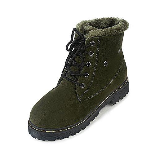 KHSKX-Los Estudiantes En El Otoño Y El Invierno Nieve Botas Zapatos Zapatos Botas Y Un Velvet Corta Tubo Corto Plano Con Calor Antideslizante Estudiantes Coreanos Verde Treinta Y Siete Thirty-seven