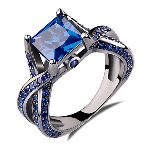 2.0ct Princess Cut Created Blue Sapphire Engagement Ring 14k Black Gold Rhodium Plating Over Sterling Silver 925 Ring Size 7
