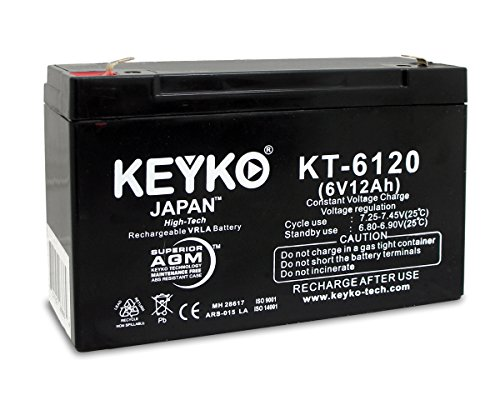 Critikon 2100 Volumetric Infusion Pump 6V 12Ah Battery Fresh & REAL 12.0 Amp AGM/SLA Seal Lead Acid Rechargeable Replacement Genuine KEYKO KT-6120 - F1 Terminal