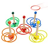 Ladnis Toys Ring Toss Game Set For Kids Children Adults,Wooden Toys 15 Quoits Plastic Rings with Carrying Bag