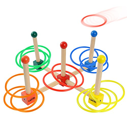 - Ladnis Toys Ring Toss Game Set For Kids Children Adults,Wooden Toys 15 Quoits Plastic Rings with Carrying Bag